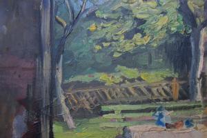 Landschaft in Deutschland, signiert (Rückseite), beidseitig bemalt · 36,6 x 30 cm · Öl auf Leinen · vor 1925 · Privatbesitz, Marjorie-Cohn, Arlington, Massachusetts/USA