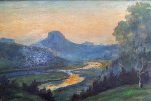Elblandschaft/Sächsische Schweiz, o. J., 40 x 30 cm, Ölfarbe auf Leinwand, unsigniert, Privatbesitz Dieter Brock, Dresden